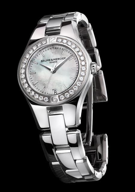 Montre Baume et Mercier Linea Cadran Nacre Bracelet Acier Serti de Diamants