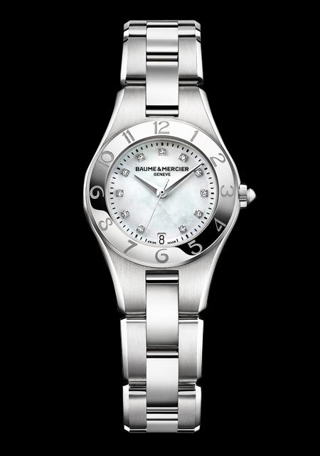 Montre Baume et Mercier Linea Cadran Nacre Index Diamants Bracelet Acier